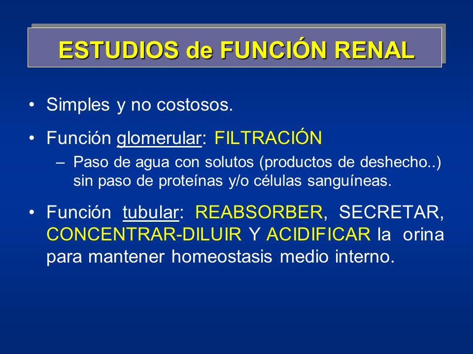 ESTUDIOS de FUNCIÓN RENAL Simples y no costosos. Función glomerular: FILTRACIÓN –Paso de agua con solutos (productos de deshecho..) sin paso de proteí