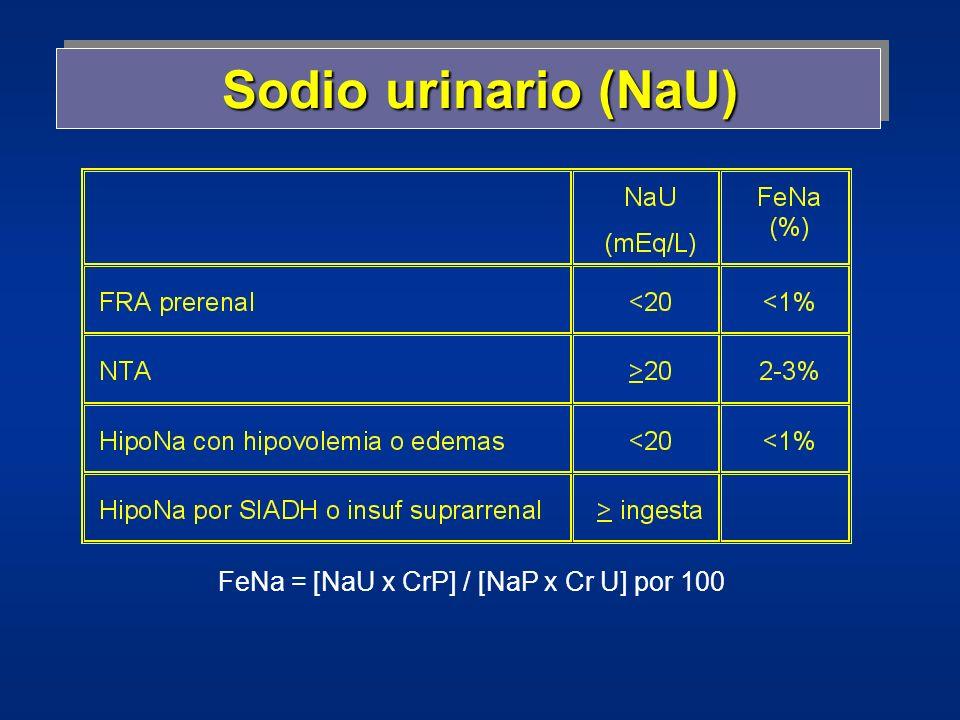 Sodio urinario (NaU) FeNa = [NaU x CrP] / [NaP x Cr U] por 100