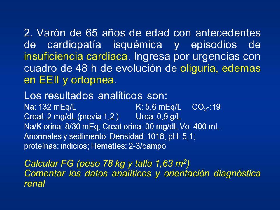 2. Varón de 65 años de edad con antecedentes de cardiopatía isquémica y episodios de insuficiencia cardiaca. Ingresa por urgencias con cuadro de 48 h