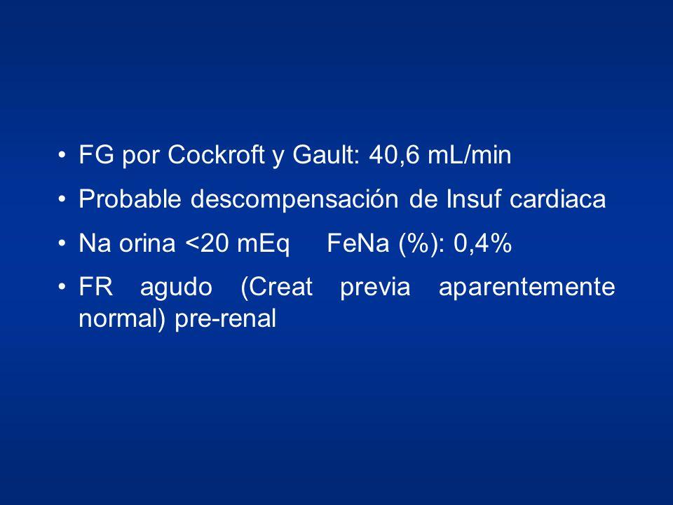 FG por Cockroft y Gault: 40,6 mL/min Probable descompensación de Insuf cardiaca Na orina <20 mEqFeNa (%): 0,4% FR agudo (Creat previa aparentemente no