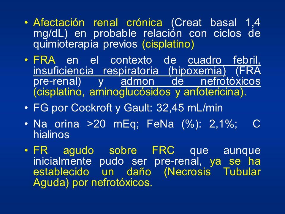Afectación renal crónica (Creat basal 1,4 mg/dL) en probable relación con ciclos de quimioterapia previos (cisplatino) FRA en el contexto de cuadro fe