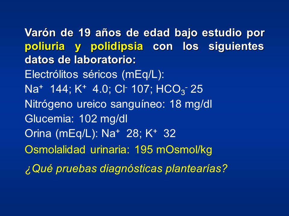Varón de 19 años de edad bajo estudio por poliuria y polidipsia con los siguientes datos de laboratorio: Electrólitos séricos (mEq/L): Na + 144; K + 4