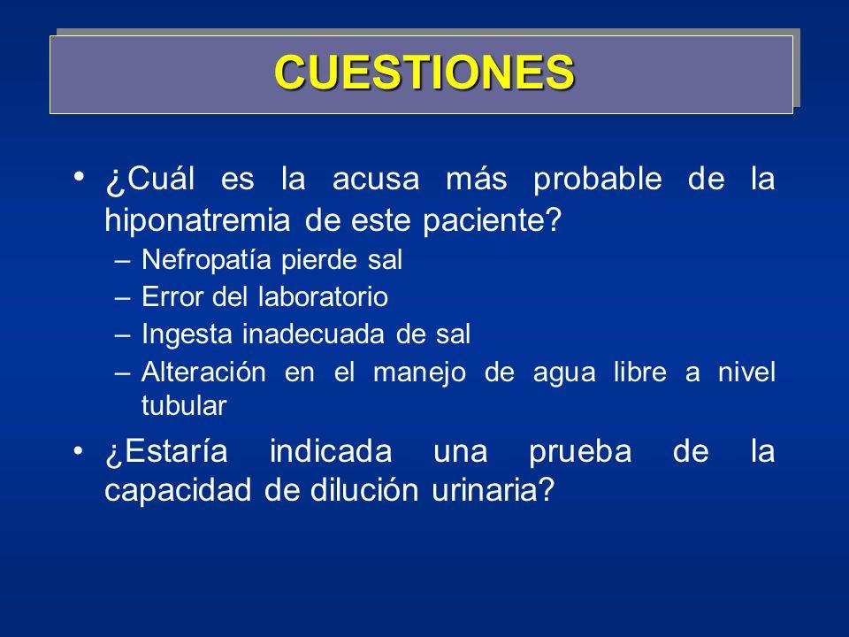 CUESTIONES ¿ Cuál es la acusa más probable de la hiponatremia de este paciente? –Nefropatía pierde sal –Error del laboratorio –Ingesta inadecuada de s