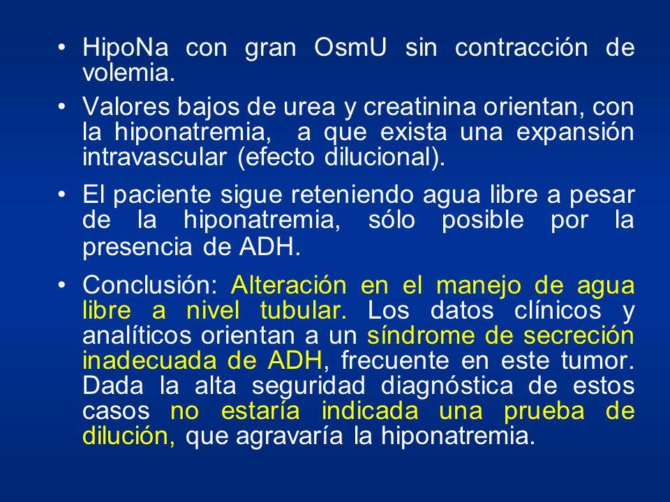 HipoNa con gran OsmU sin contracción de volemia. Valores bajos de urea y creatinina orientan, con la hiponatremia, a que exista una expansión intravas