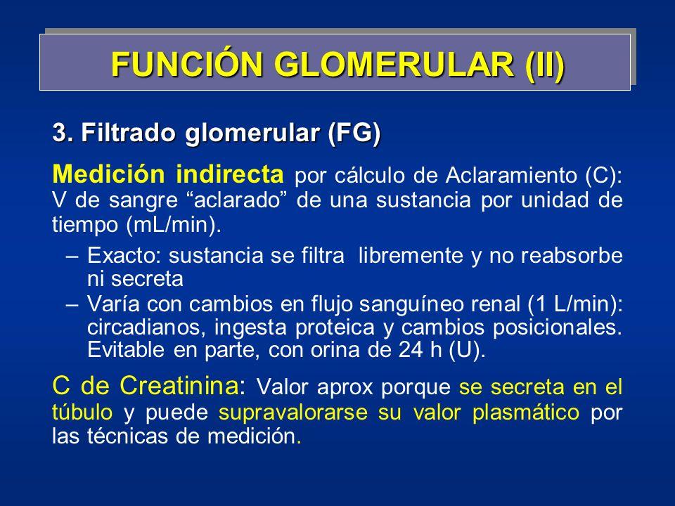 3. Filtrado glomerular (FG) Medición indirecta por cálculo de Aclaramiento (C): V de sangre aclarado de una sustancia por unidad de tiempo (mL/min). –