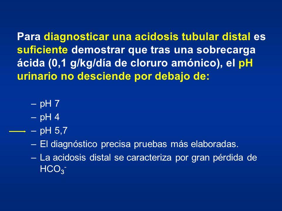 Para diagnosticar una acidosis tubular distal es suficiente demostrar que tras una sobrecarga ácida (0,1 g/kg/día de cloruro amónico), el pH urinario