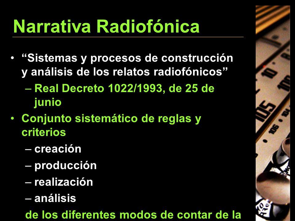 Narrativa Radiofónica Sistemas y procesos de construcción y análisis de los relatos radiofónicos –Real Decreto 1022/1993, de 25 de junio Conjunto sist