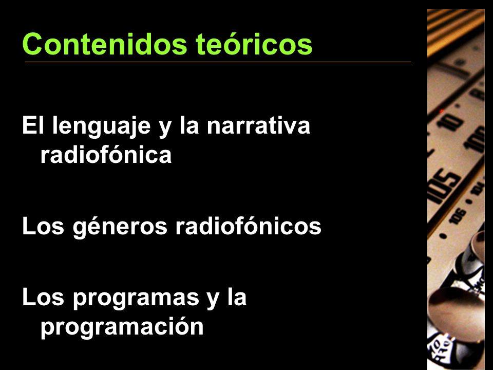 Contenidos teóricos El lenguaje y la narrativa radiofónica Los géneros radiofónicos Los programas y la programación