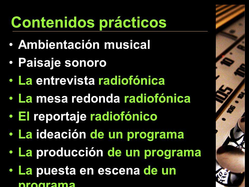 Contenidos prácticos Ambientación musical Paisaje sonoro La entrevista radiofónica La mesa redonda radiofónica El reportaje radiofónico La ideación de
