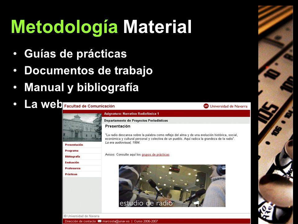 Metodología Material Guías de prácticas Documentos de trabajo Manual y bibliografía La web