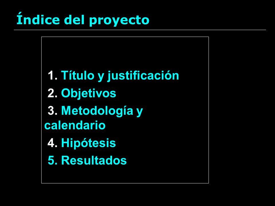Índice del proyecto 1. Título y justificación 2. Objetivos 3. Metodología y calendario 4. Hipótesis 5. Resultados