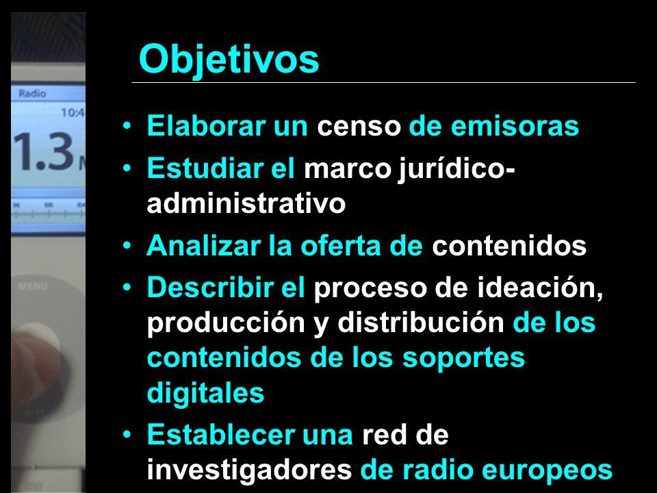 Objetivos Elaborar un censo de emisoras Estudiar el marco jurídico- administrativo Analizar la oferta de contenidos Describir el proceso de ideación,