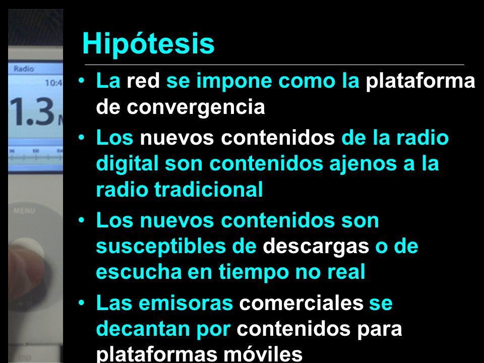 Hipótesis La red se impone como la plataforma de convergencia Los nuevos contenidos de la radio digital son contenidos ajenos a la radio tradicional L