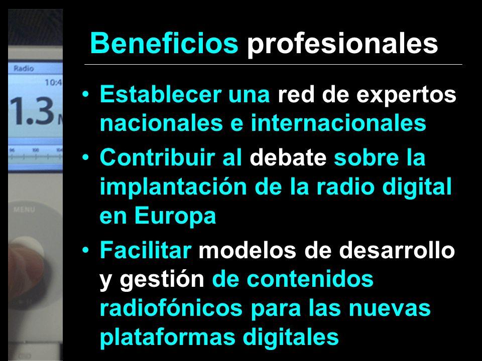 Beneficios profesionales Establecer una red de expertos nacionales e internacionales Contribuir al debate sobre la implantación de la radio digital en