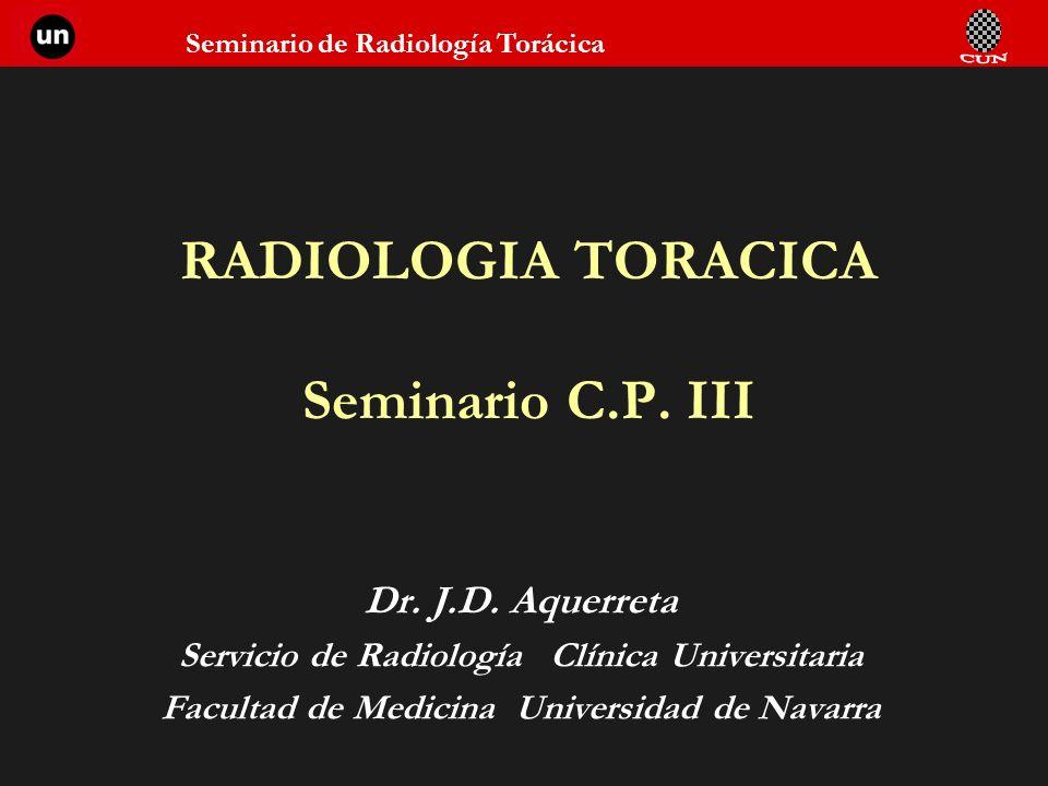Seminario de Radiología Torácica RADIOLOGIA TORACICA Seminario C.P. III Dr. J.D. Aquerreta Servicio de Radiología Clínica Universitaria Facultad de Me