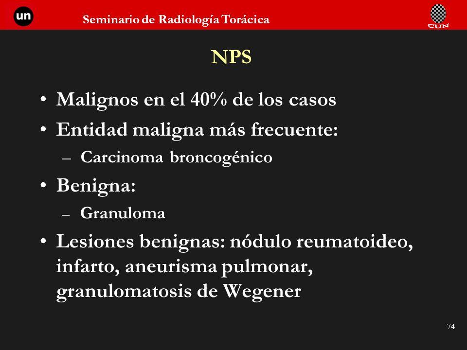 Seminario de Radiología Torácica 74 Malignos en el 40% de los casos Entidad maligna más frecuente: – Carcinoma broncogénico Benigna: – Granuloma Lesio