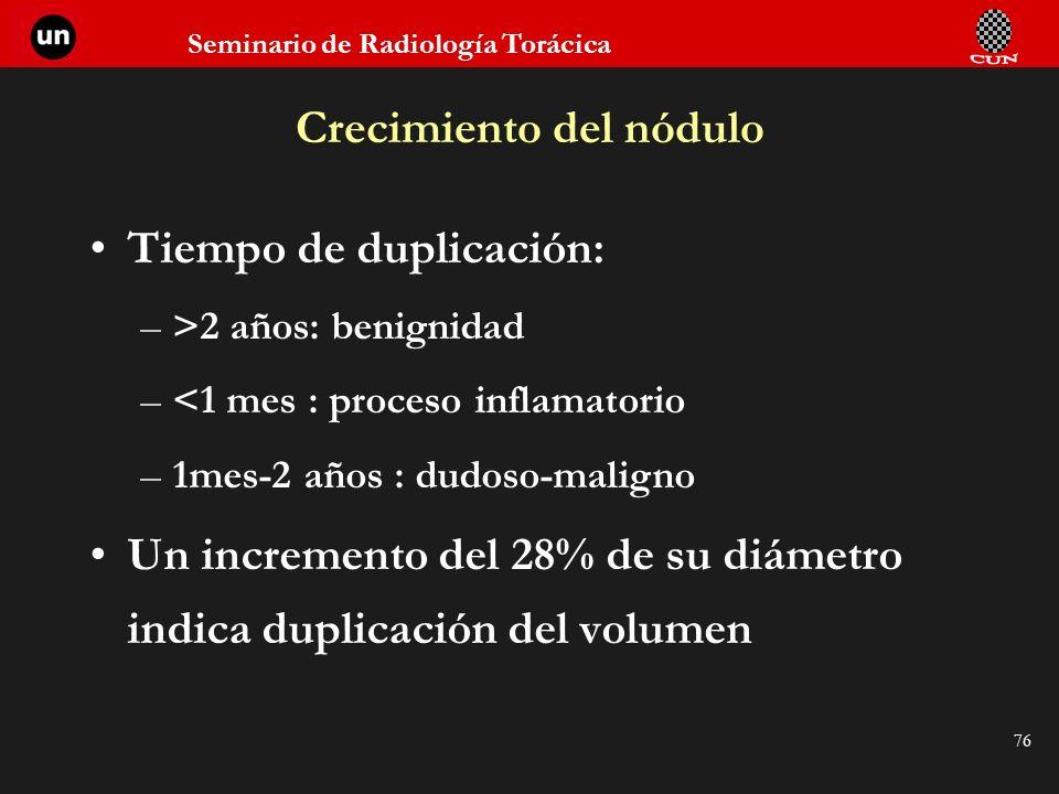 Seminario de Radiología Torácica 76 Crecimiento del nódulo Tiempo de duplicación: –>2 años: benignidad –<1 mes : proceso inflamatorio –1mes-2 años : d