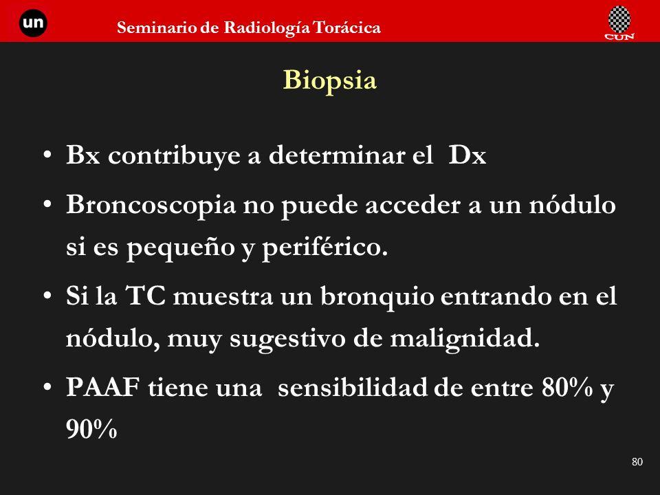 Seminario de Radiología Torácica 80 Biopsia Bx contribuye a determinar el Dx Broncoscopia no puede acceder a un nódulo si es pequeño y periférico. Si