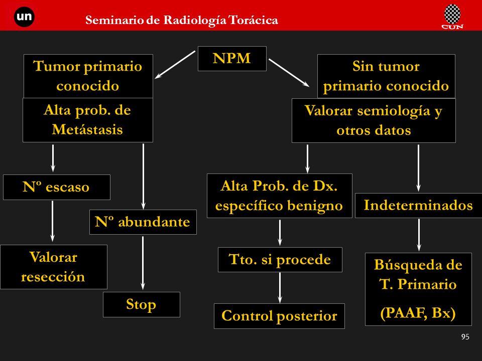 Seminario de Radiología Torácica 95 NPM Tumor primario conocido Sin tumor primario conocido Alta prob. de Metástasis Valorar semiología y otros datos