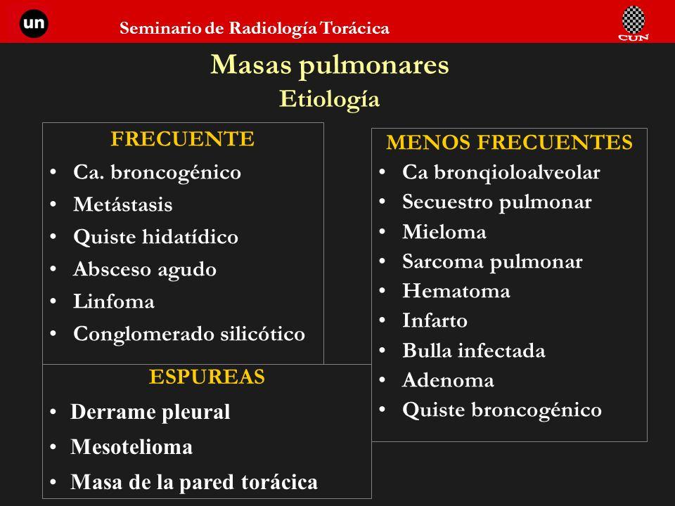 Seminario de Radiología Torácica Masas pulmonares Etiología FRECUENTE Ca. broncogénico Metástasis Quiste hidatídico Absceso agudo Linfoma Conglomerado