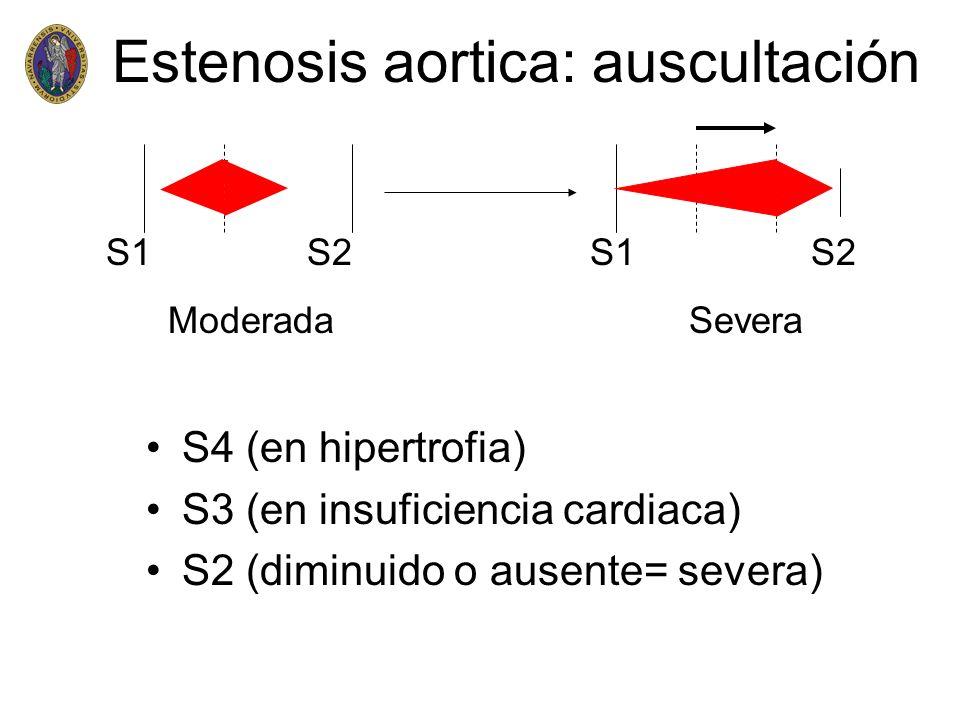 Estenosis aortica: auscultación S4 (en hipertrofia) S3 (en insuficiencia cardiaca) S2 (diminuido o ausente= severa) S1 S2 Moderada Severa