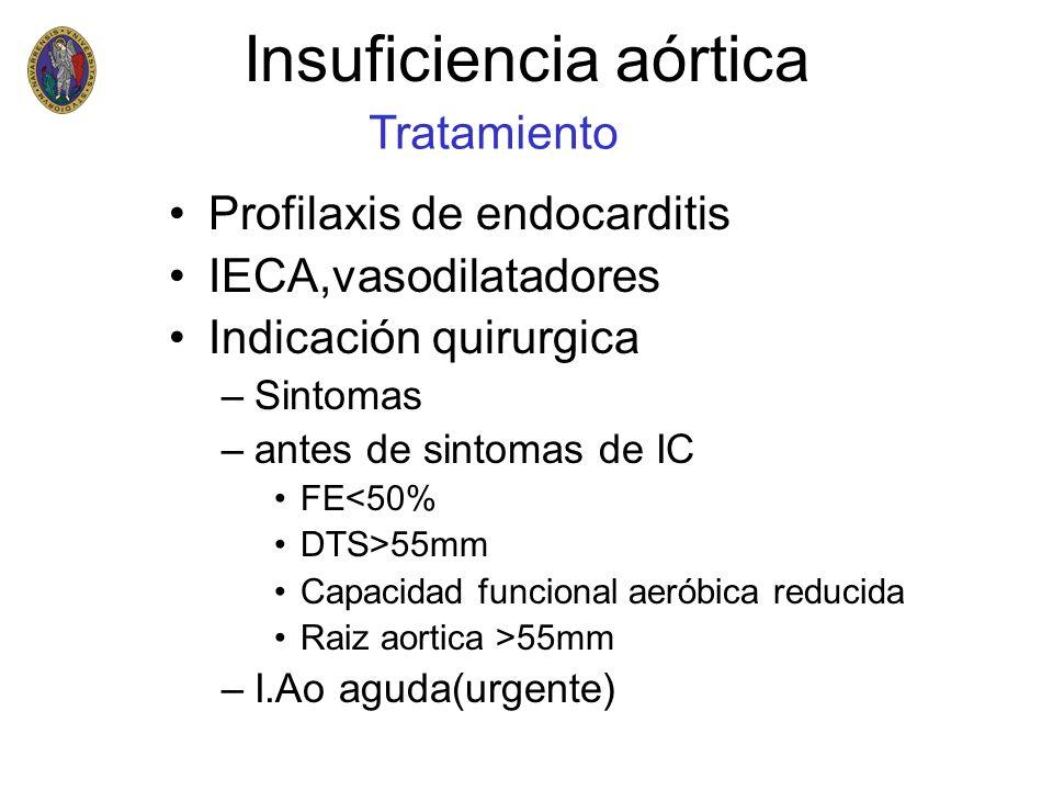 Insuficiencia aórtica Profilaxis de endocarditis IECA,vasodilatadores Indicación quirurgica –Sintomas –antes de sintomas de IC FE<50% DTS>55mm Capacid