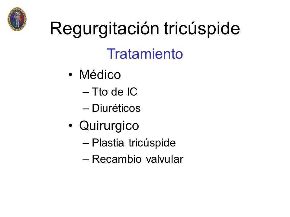 Médico –Tto de IC –Diuréticos Quirurgico –Plastia tricúspide –Recambio valvular Tratamiento