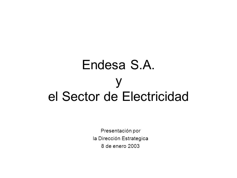 Endesa S.A. y el Sector de Electricidad Presentación por la Dirección Estrategica 8 de enero 2003