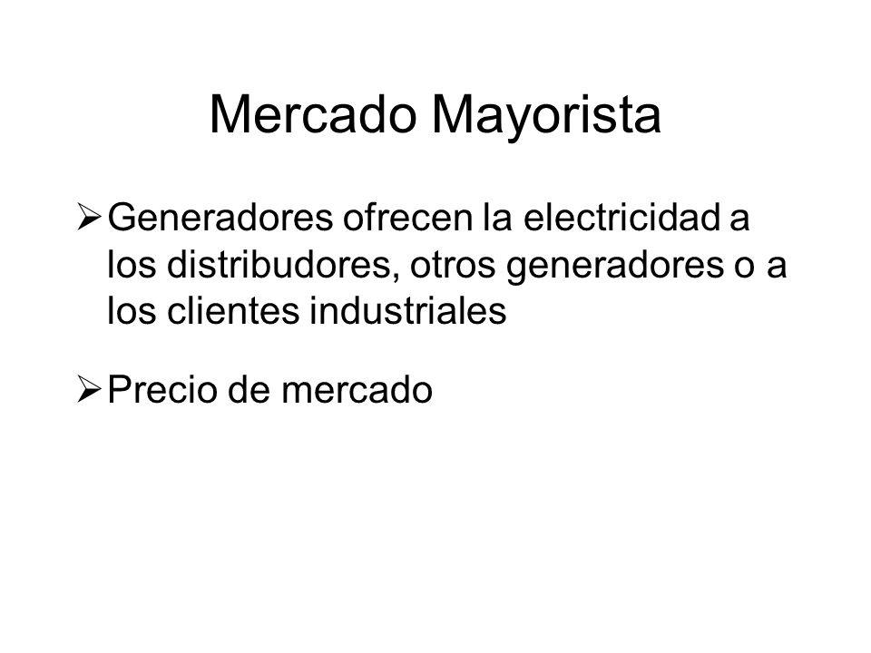 Mercado Mayorista Generadores ofrecen la electricidad a los distribudores, otros generadores o a los clientes industriales Precio de mercado