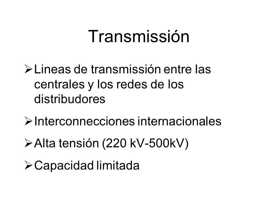 Transmissión Lineas de transmissión entre las centrales y los redes de los distribudores Interconnecciones internacionales Alta tensión (220 kV-500kV) Capacidad limitada