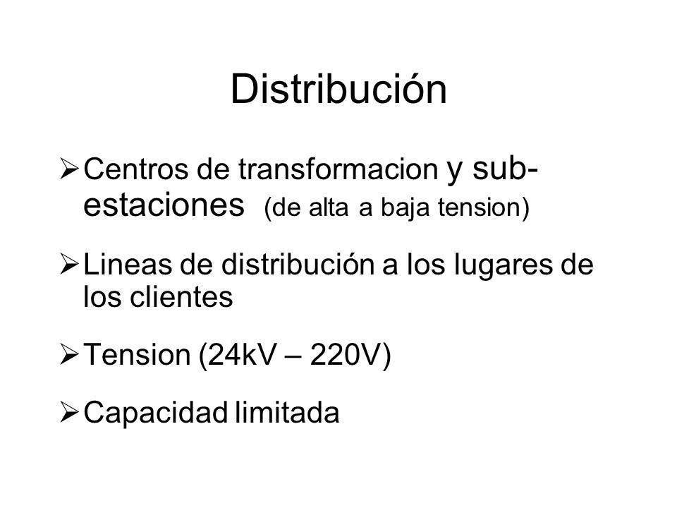 Distribución Centros de transformacion y sub- estaciones (de alta a baja tension) Lineas de distribución a los lugares de los clientes Tension (24kV – 220V) Capacidad limitada