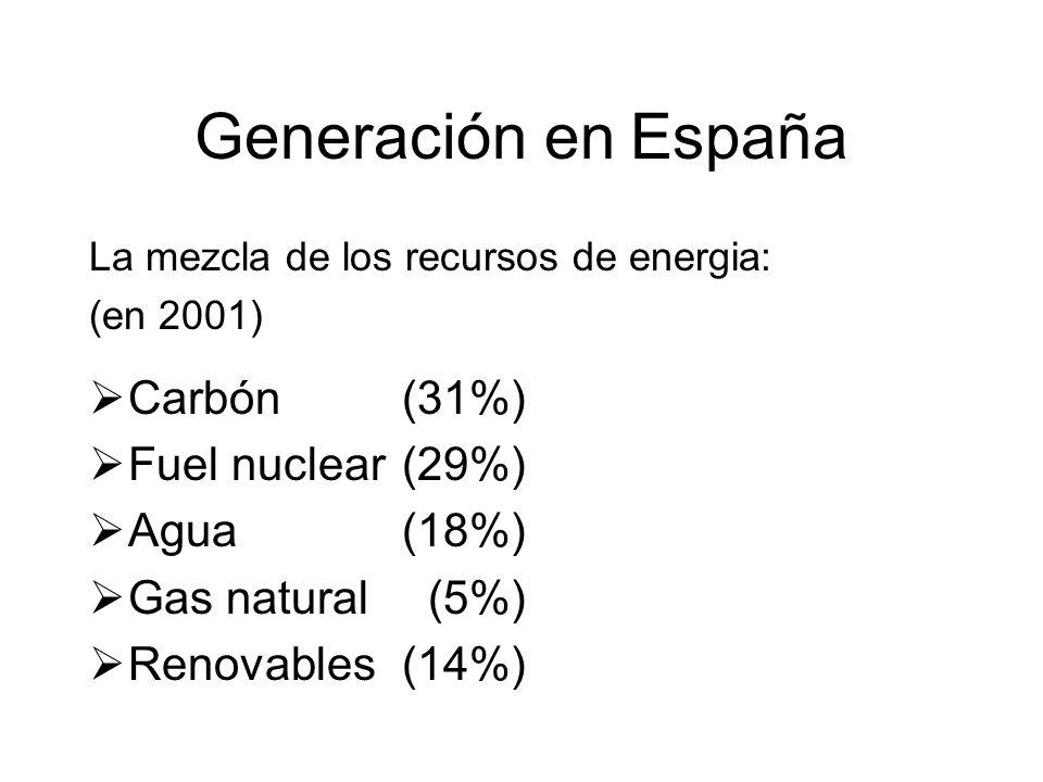 Generación en España La mezcla de los recursos de energia: (en 2001) Carbón (31%) Fuel nuclear (29%) Agua (18%) Gas natural (5%) Renovables(14%)