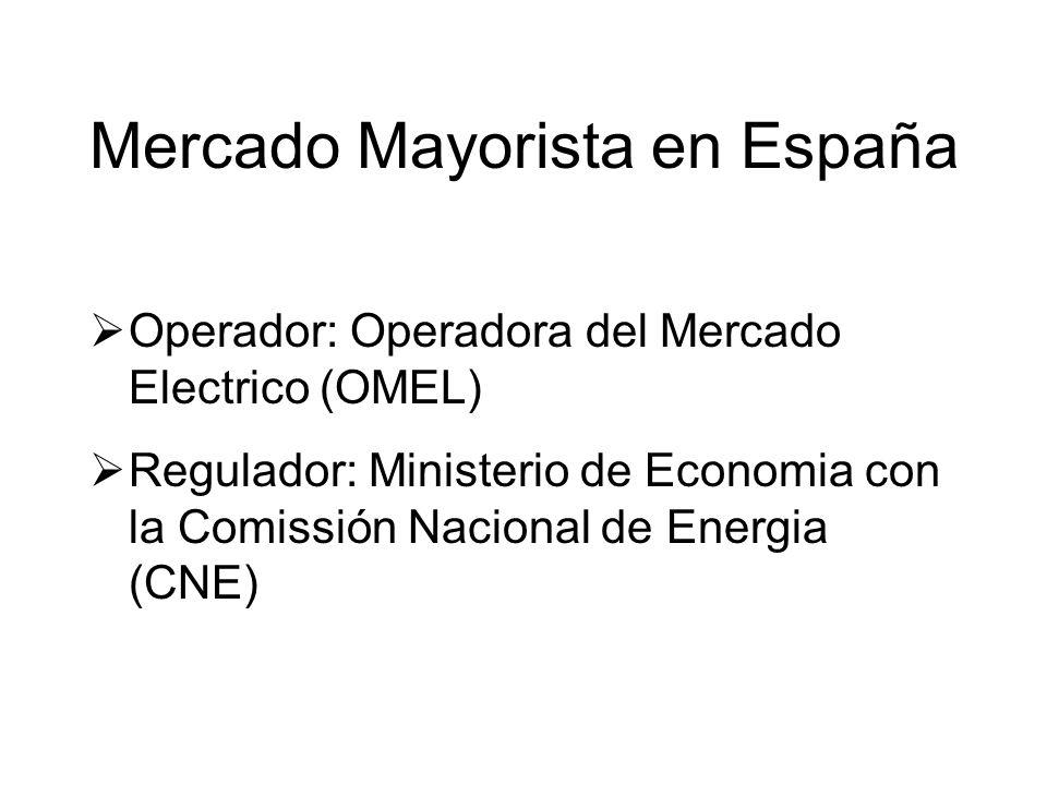 Operador: Operadora del Mercado Electrico (OMEL) Regulador: Ministerio de Economia con la Comissión Nacional de Energia (CNE) Mercado Mayorista en España
