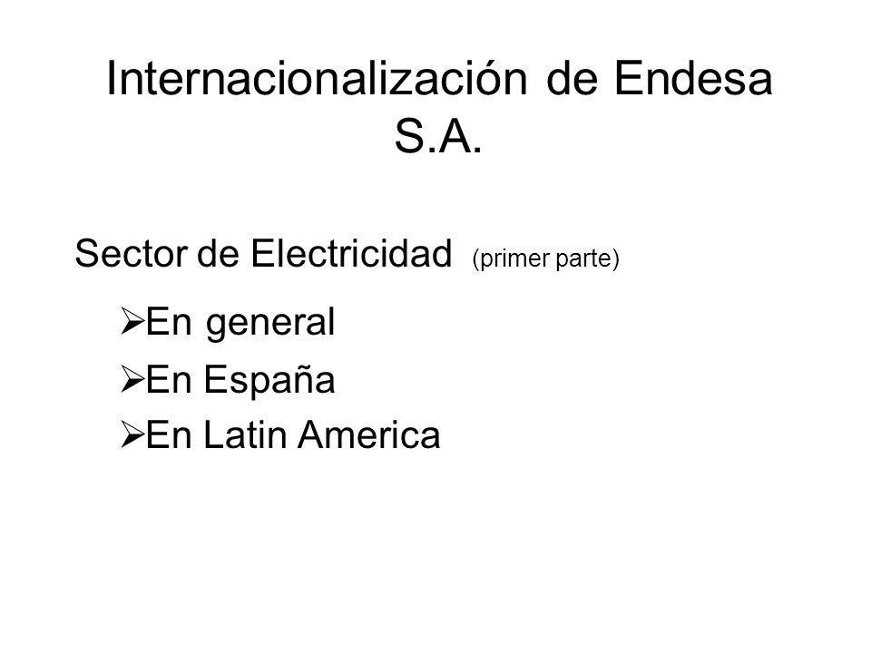 Internacionalización de Endesa S.A. Sector de Electricidad (primer parte) En general En España En Latin America