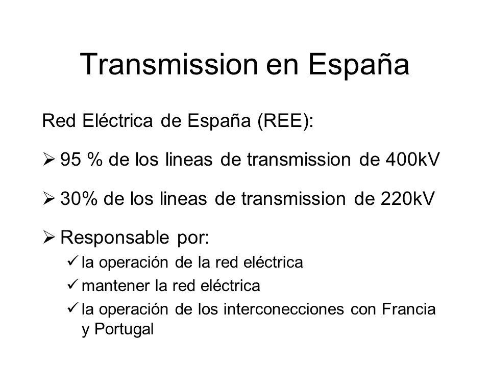 Transmission en España Red Eléctrica de España (REE): 95 % de los lineas de transmission de 400kV 30% de los lineas de transmission de 220kV Responsable por: la operación de la red eléctrica mantener la red eléctrica la operación de los interconecciones con Francia y Portugal