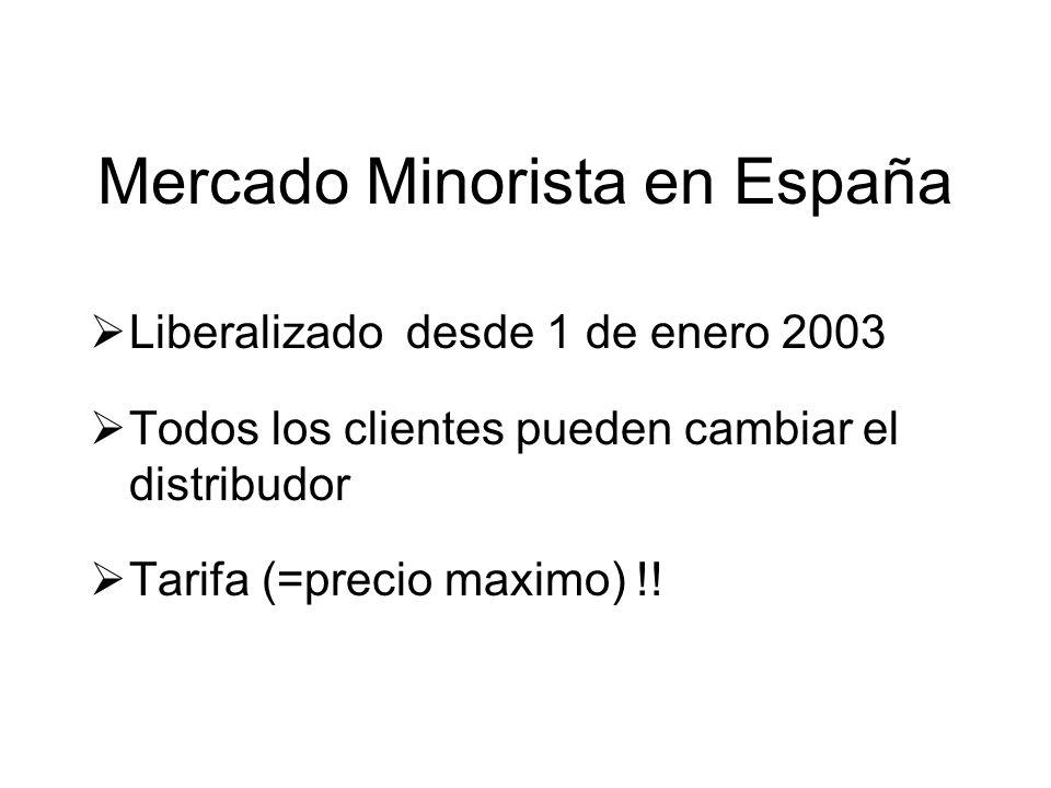 Mercado Minorista en España Liberalizado desde 1 de enero 2003 Todos los clientes pueden cambiar el distribudor Tarifa (=precio maximo) !!