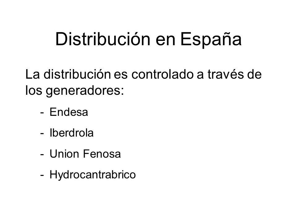 Distribución en España La distribución es controlado a través de los generadores: -Endesa -Iberdrola -Union Fenosa -Hydrocantrabrico