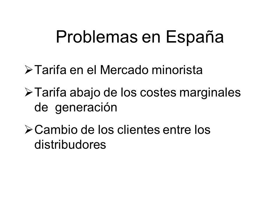 Problemas en España Tarifa en el Mercado minorista Tarifa abajo de los costes marginales de generación Cambio de los clientes entre los distribudores