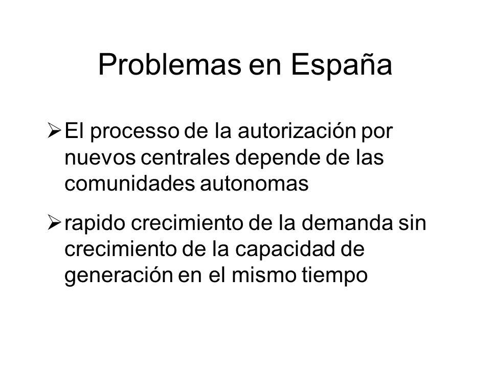El processo de la autorización por nuevos centrales depende de las comunidades autonomas rapido crecimiento de la demanda sin crecimiento de la capacidad de generación en el mismo tiempo Problemas en España