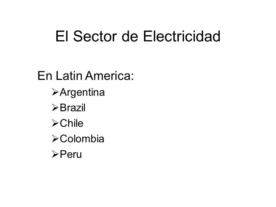 El Sector de Electricidad En Latin America: Argentina Brazil Chile Colombia Peru