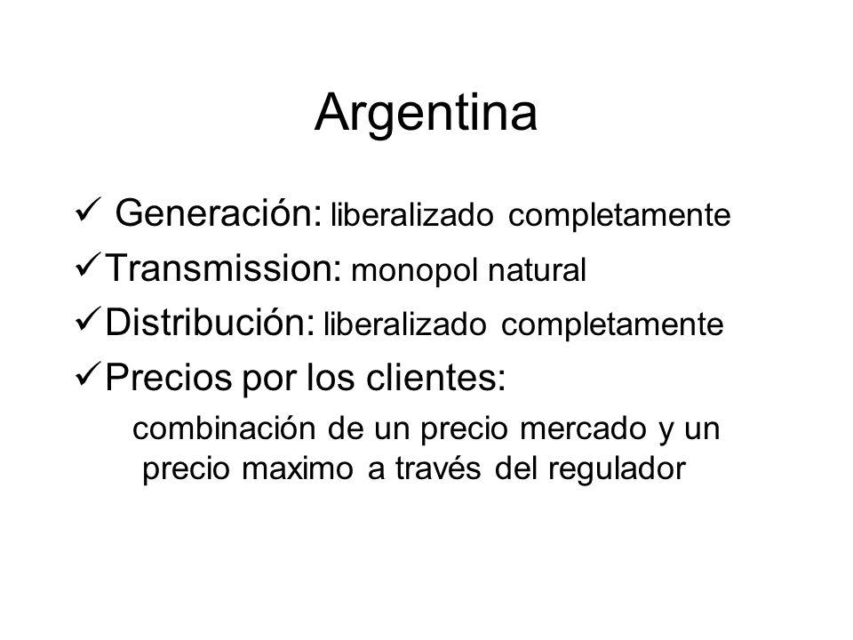 Argentina Generación: liberalizado completamente Transmission: monopol natural Distribución: liberalizado completamente Precios por los clientes: combinación de un precio mercado y un precio maximo a través del regulador