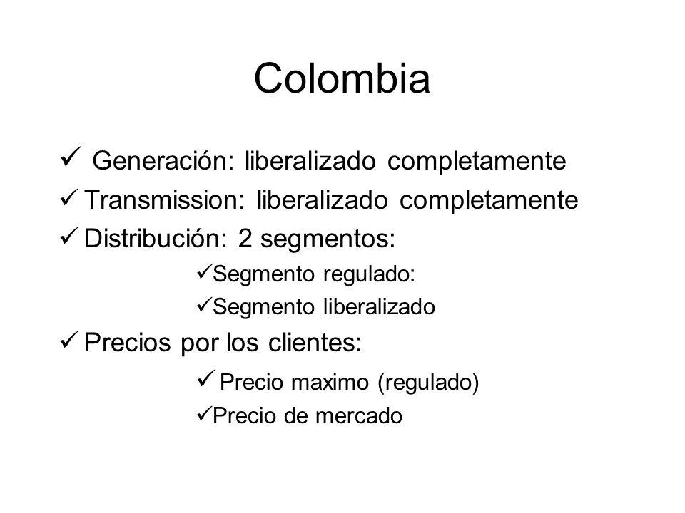 Colombia Generación: liberalizado completamente Transmission: liberalizado completamente Distribución: 2 segmentos: Segmento regulado: Segmento liberalizado Precios por los clientes: Precio maximo (regulado) Precio de mercado