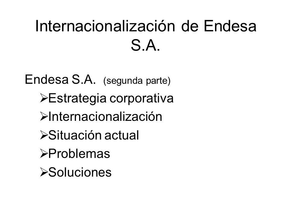 Internacionalización de Endesa S.A. Endesa S.A. (segunda parte) Estrategia corporativa Internacionalización Situación actual Problemas Soluciones