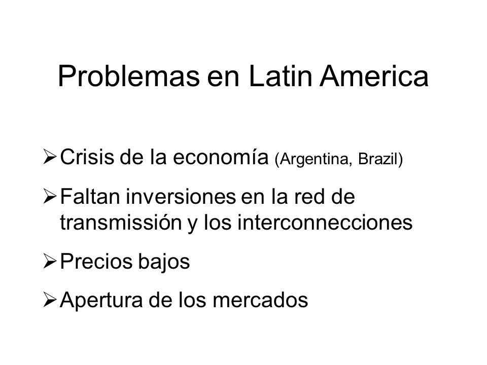 Problemas en Latin America Crisis de la economía (Argentina, Brazil) Faltan inversiones en la red de transmissión y los interconnecciones Precios bajos Apertura de los mercados