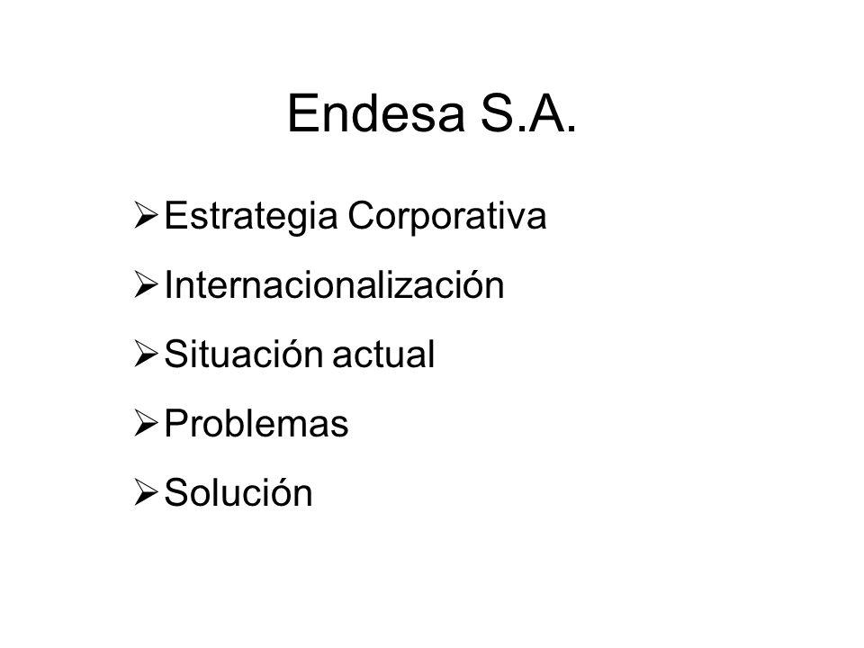 Endesa S.A. Estrategia Corporativa Internacionalización Situación actual Problemas Solución