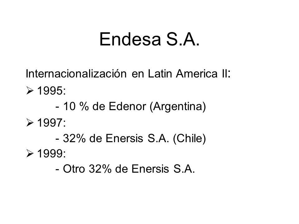Endesa S.A. Internacionalización en Latin America II : 1995: -10 % de Edenor (Argentina) 1997: -32% de Enersis S.A. (Chile) 1999: -Otro 32% de Enersis