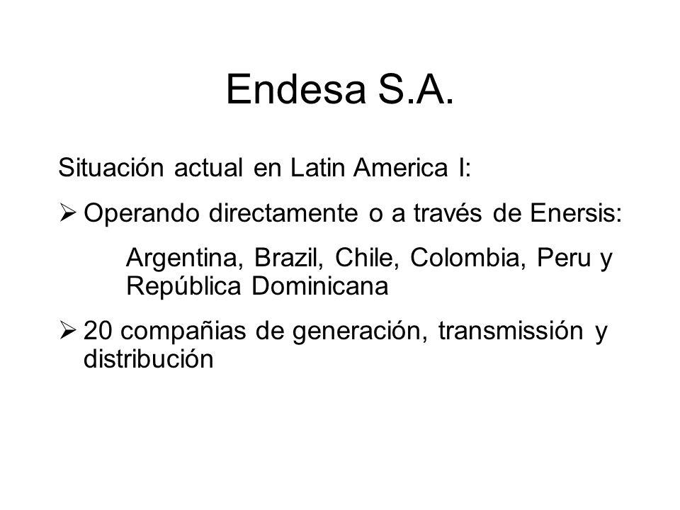 Endesa S.A. Situación actual en Latin America I: Operando directamente o a través de Enersis: Argentina, Brazil, Chile, Colombia, Peru y República Dom