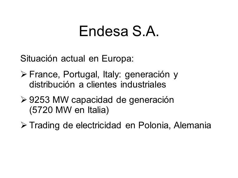 Endesa S.A. Situación actual en Europa: France, Portugal, Italy: generación y distribución a clientes industriales 9253 MW capacidad de generación (57