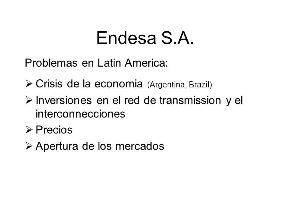 Endesa S.A. Problemas en Latin America: Crisis de la economia (Argentina, Brazil) Inversiones en el red de transmission y el interconnecciones Precios