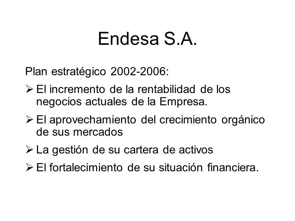Endesa S.A. Plan estratégico 2002-2006: El incremento de la rentabilidad de los negocios actuales de la Empresa. El aprovechamiento del crecimiento or